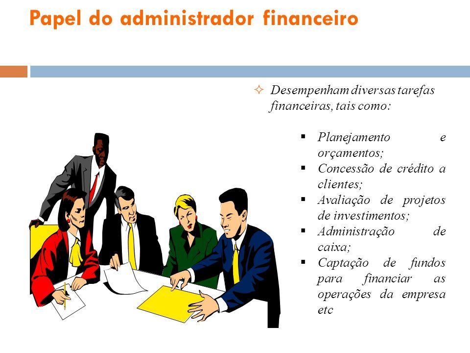 Papel do administrador financeiro Desempenham diversas tarefas financeiras, tais como: Planejamento e orçamentos; Concessão de crédito a clientes; Ava