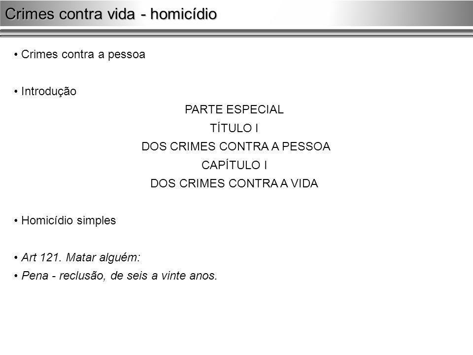 Crimes contra a pessoa Introdução PARTE ESPECIAL TÍTULO I DOS CRIMES CONTRA A PESSOA CAPÍTULO I DOS CRIMES CONTRA A VIDA Homicídio simples Art 121. Ma