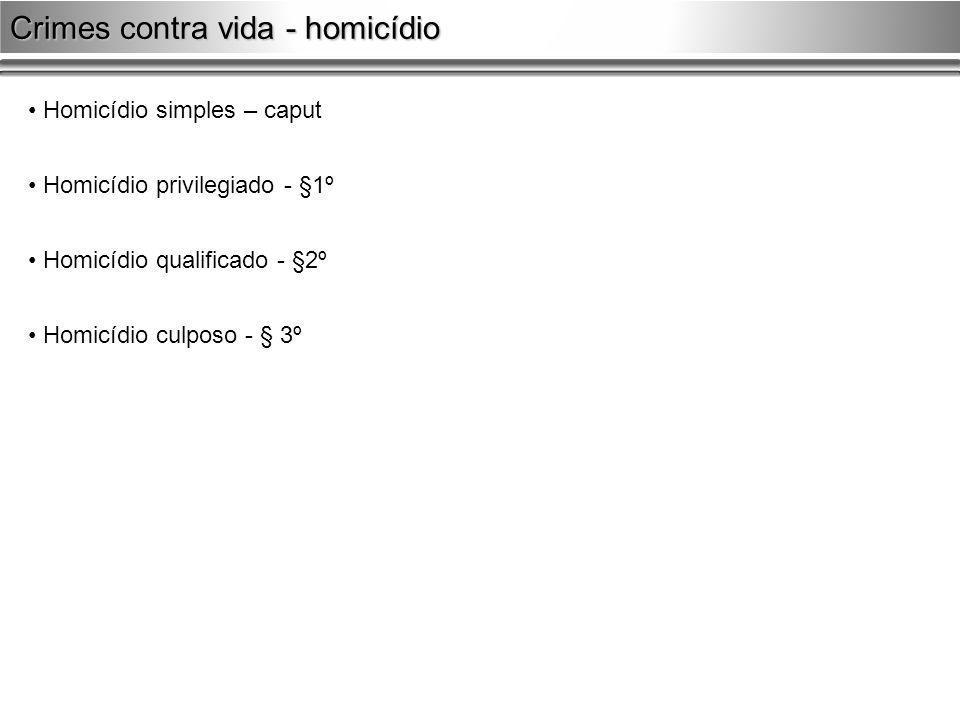 Homicídio simples – caput Homicídio privilegiado - §1º Homicídio qualificado - §2º Homicídio culposo - § 3º Crimes contra vida - homicídio