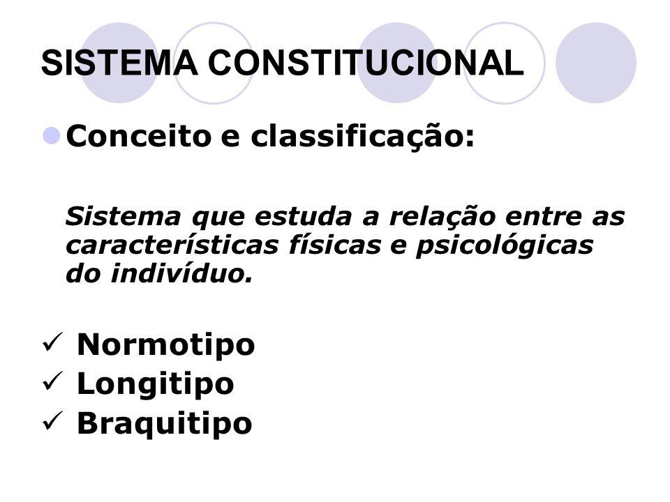 SISTEMA CONSTITUCIONAL Conceito e classificação: Sistema que estuda a relação entre as características físicas e psicológicas do indivíduo. Normotipo