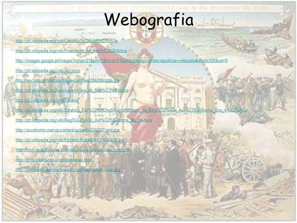 Webografia http://pt.wikipedia.org/wiki/Constitui%C3%A7%C3%A3o http://pt.wikipedia.org/wiki/Presidente_da_Rep%C3%BAblica http://images.google.pt/images?ndsp=21&um=1&hl=pt-PT&q=presidencia+da+republica+wikipedia&start=126&sa=N http://pt.wikipedia.org/wiki/Governo http://ww1.rtp.pt/noticias/images/articles/356259/cplp.jpg http://pt.wikipedia.org/wiki/Assembleia_da_Rep%C3%BAblica http://pt.wikipedia.org/wiki/Tribunal http://pt.wikipedia.org/wiki/Estatuto_Pol%C3%ADtico-Administrativo_da_Regi%C3%A3o_Aut%C3%B3noma_dos_A%C3%A7or http://pt.wikipedia.org/wiki/Regi%C3%A3o_Aut%C3%B3noma_da_Madeira http://eccehomo.me/wp-content/uploads/2007/07/cml.jpg http://pt.wikipedia.org/wiki/Ficheiro:Bragan%C3%A7a70.jpg http://www.suapesquisa.com/religiaosociais/eleicoes_voto.htm http://www.ciberjunta.com/legislacao.html http://politizado.diario-universal.com/wp-content/votar.jpg