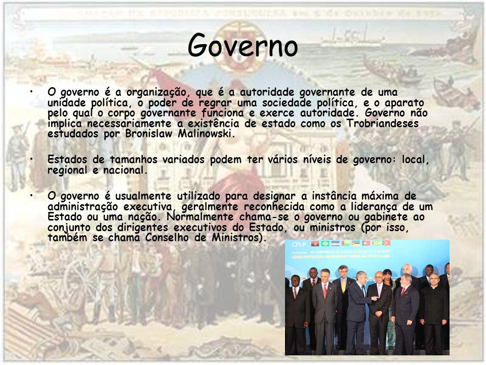 Governo O governo é a organização, que é a autoridade governante de uma unidade política, o poder de regrar uma sociedade política, e o aparato pelo qual o corpo governante funciona e exerce autoridade.