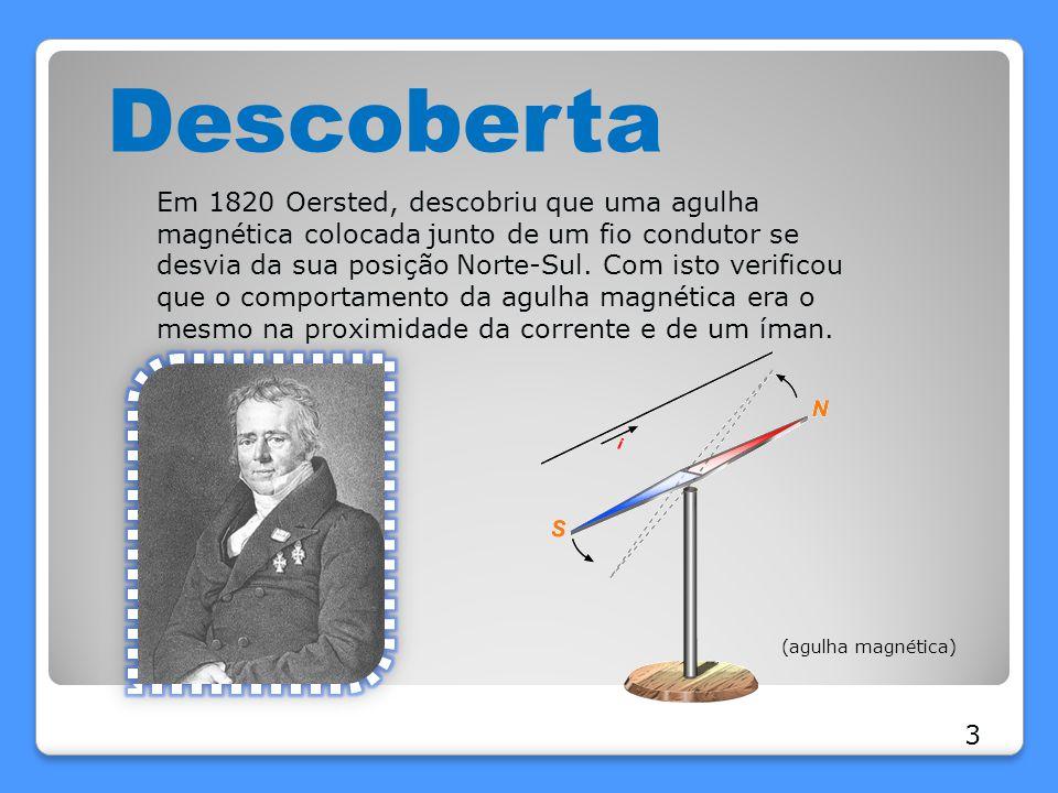 Descoberta Em 1820 Oersted, descobriu que uma agulha magnética colocada junto de um fio condutor se desvia da sua posição Norte-Sul. Com isto verifico