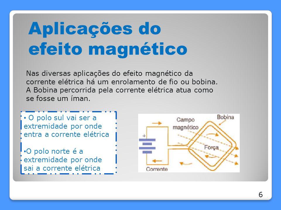 Aplicações do efeito magnético Nas diversas aplicações do efeito magnético da corrente elétrica há um enrolamento de fio ou bobina. A Bobina percorrid