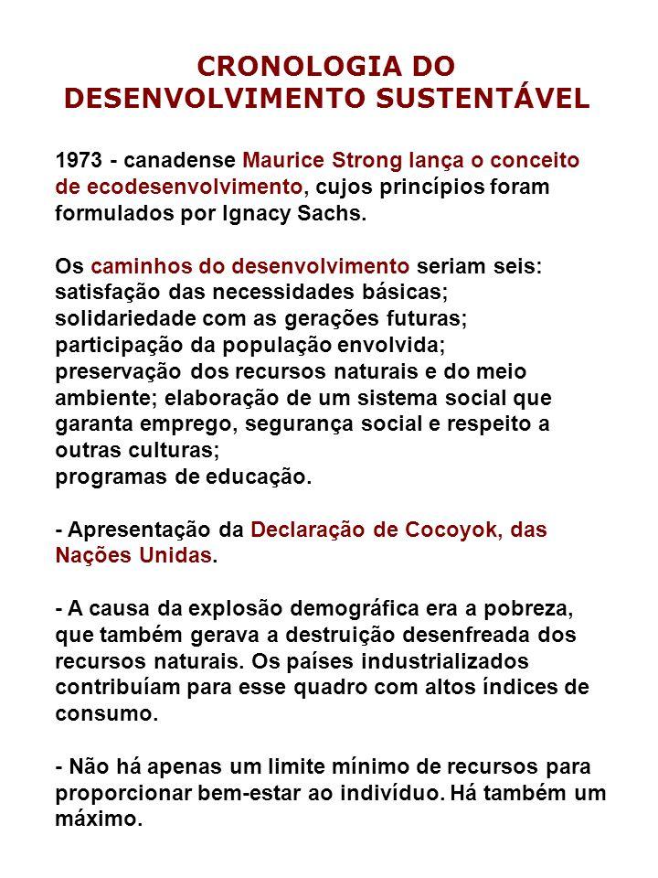 CRONOLOGIA DO DESENVOLVIMENTO SUSTENTÁVEL 1973 - canadense Maurice Strong lança o conceito de ecodesenvolvimento, cujos princípios foram formulados por Ignacy Sachs.