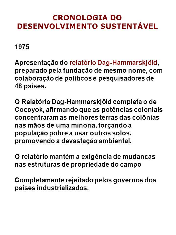 1975 Apresentação do relatório Dag-Hammarskjöld, preparado pela fundação de mesmo nome, com colaboração de políticos e pesquisadores de 48 países.