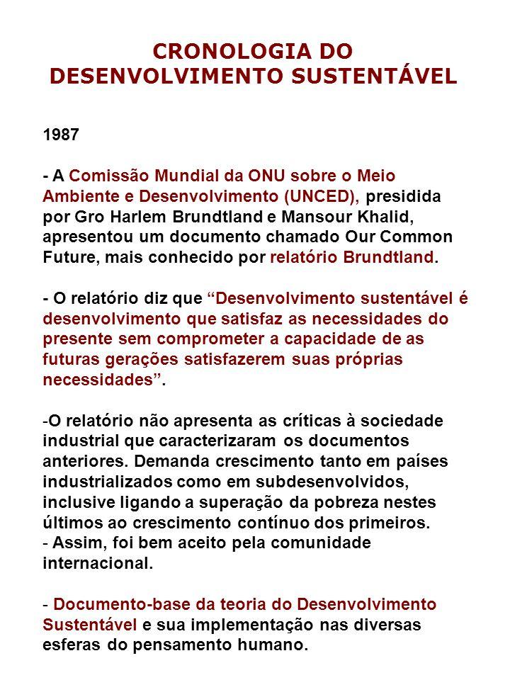 1987 - A Comissão Mundial da ONU sobre o Meio Ambiente e Desenvolvimento (UNCED), presidida por Gro Harlem Brundtland e Mansour Khalid, apresentou um documento chamado Our Common Future, mais conhecido por relatório Brundtland.