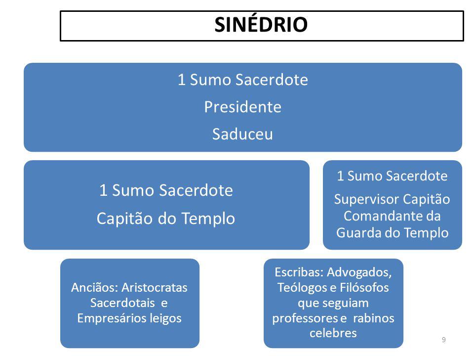 1 Sumo Sacerdote Presidente Saduceu 1 Sumo Sacerdote Capitão do Templo Anciãos: Aristocratas Sacerdotais e Empresários leigos Escribas: Advogados, Teó