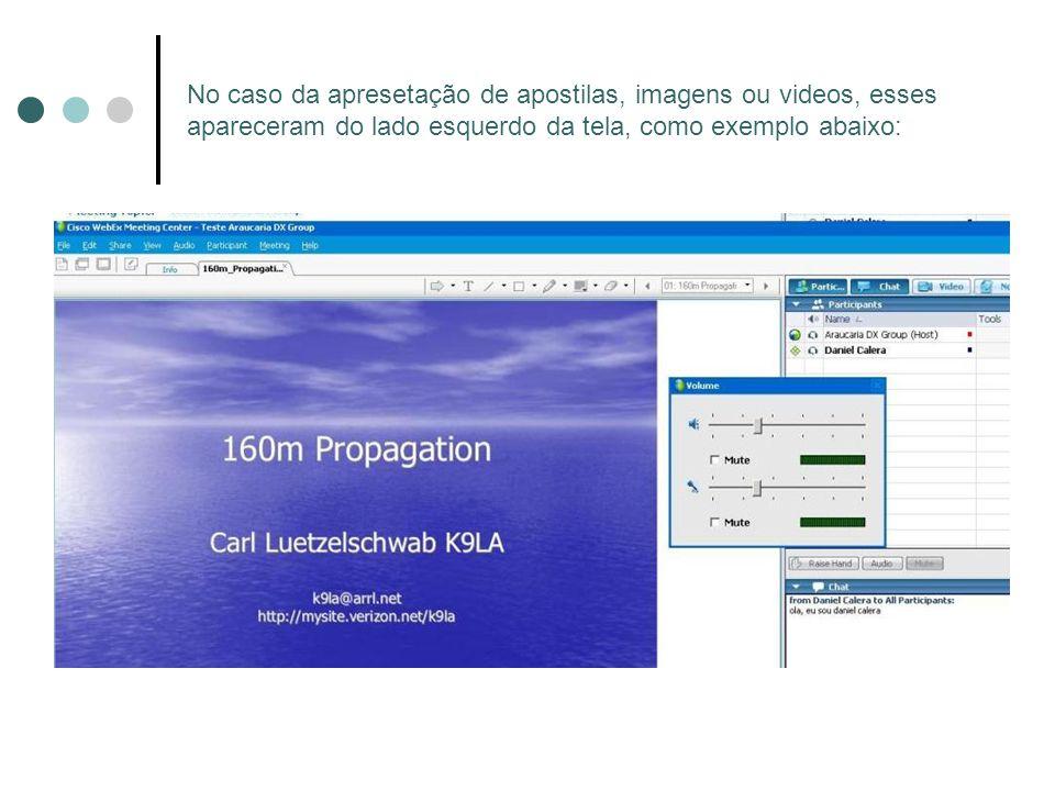 No caso da apresetação de apostilas, imagens ou videos, esses apareceram do lado esquerdo da tela, como exemplo abaixo: