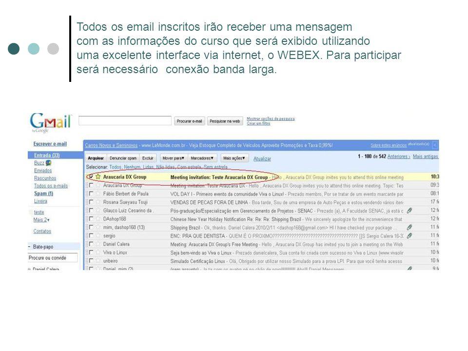 Todos os email inscritos irão receber uma mensagem com as informações do curso que será exibido utilizando uma excelente interface via internet, o WEB