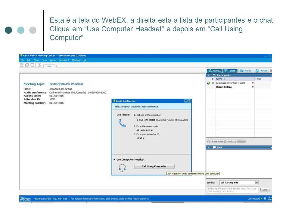 Esta é a tela do WebEX, a direita esta a lista de participantes e o chat. Clique em Use Computer Headset e depois em Call Using Computer