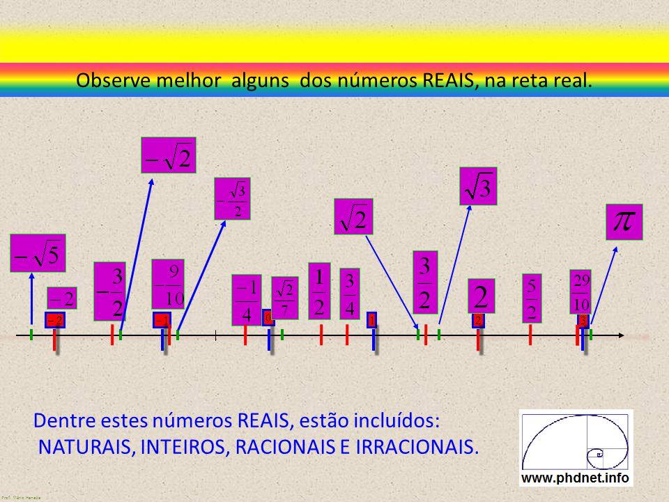 Observe melhor alguns dos números REAIS, na reta real. Dentre estes números REAIS, estão incluídos: NATURAIS, INTEIROS, RACIONAIS E IRRACIONAIS. Prof.