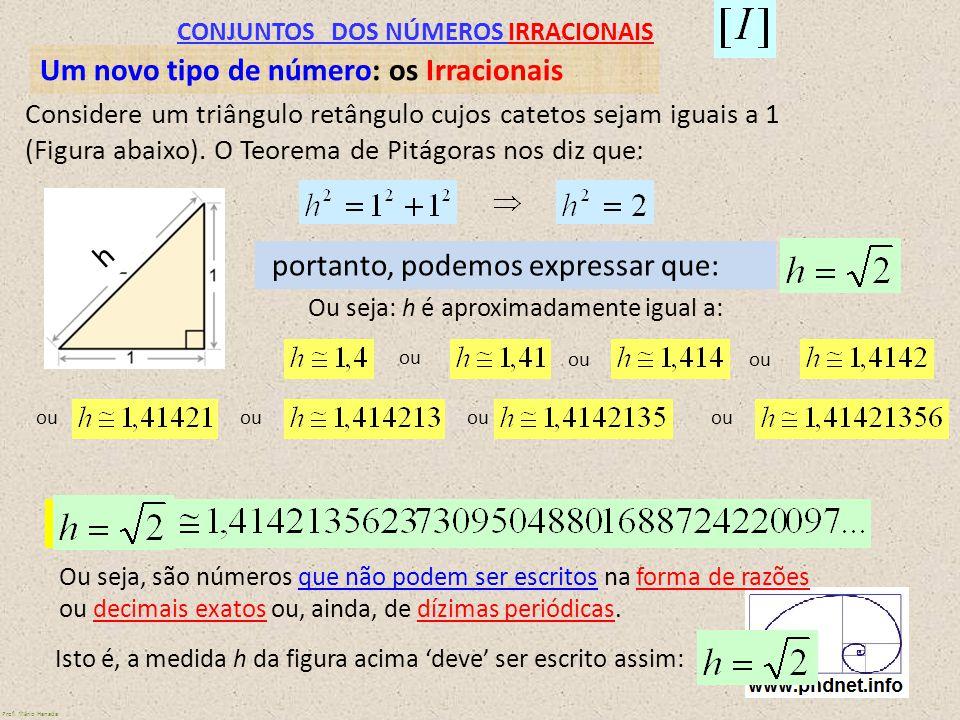 CONJUNTOS DOS NÚMEROS IRRACIONAIS Um novo tipo de número: os Irracionais Considere um triângulo retângulo cujos catetos sejam iguais a 1 (Figura abaix