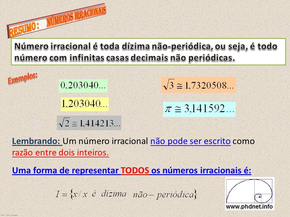 Lembrando: Um número irracional não pode ser escrito como razão entre dois inteiros. Uma forma de representar TODOS os números irracionais é: Prof. Má