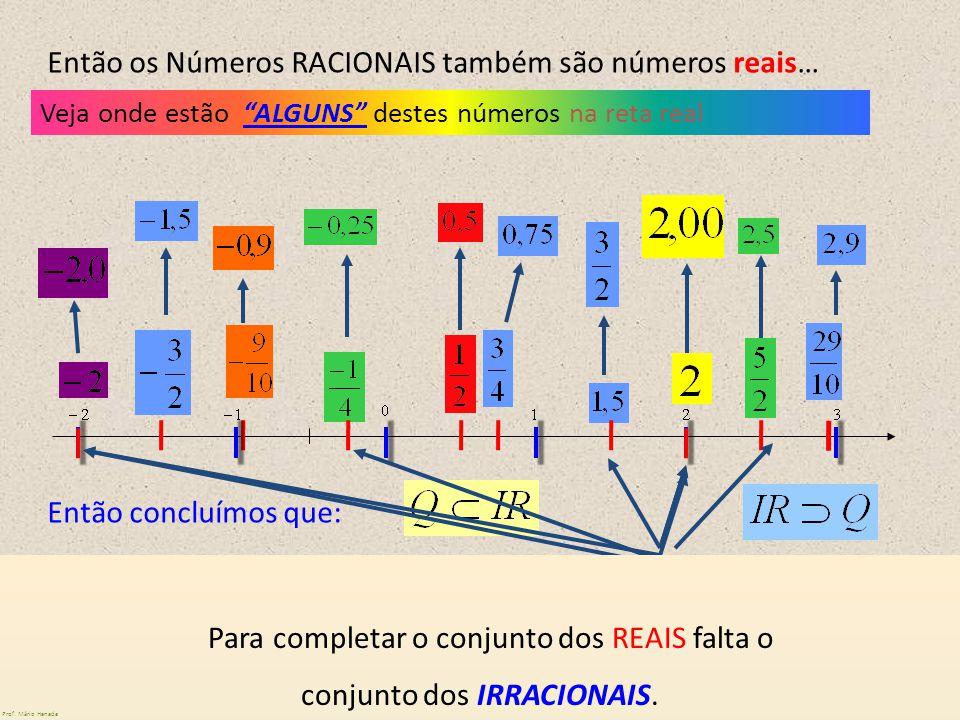 Veja onde estão ALGUNS destes números na reta real Então os Números RACIONAIS também são números reais… Temos aqui números NATURAIS que são números re