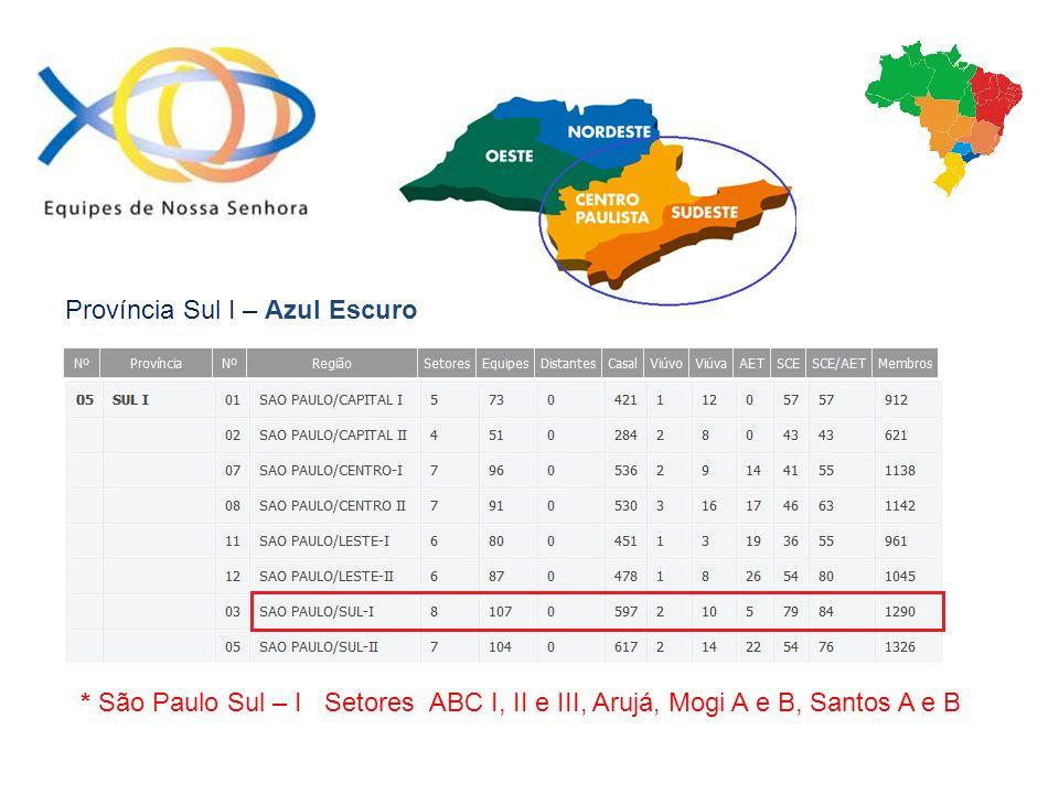 Província Sul I – Azul Escuro * São Paulo Sul – I Setores ABC I, II e III, Arujá, Mogi A e B, Santos A e B