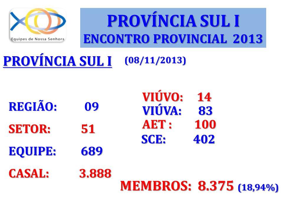REGIÃO: 09 SETOR: 51 EQUIPE: 689 CASAL: 3.888 VIÚVA: 83 AET : 100 SCE: 402 MEMBROS: 8.375 (18,94%) VIÚVO: 14 PROVÍNCIA SUL I ENCONTRO PROVINCIAL 2013