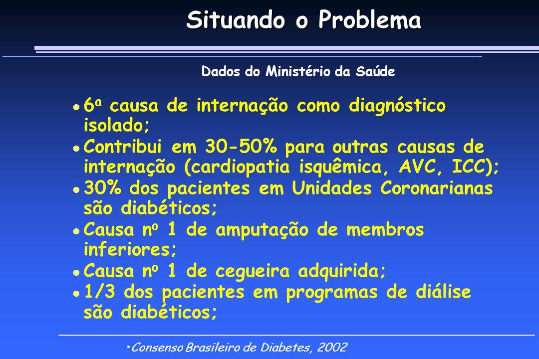Situando o Problema Dados do Ministério da Saúde l 6 a causa de internação como diagnóstico isolado; l Contribui em 30-50% para outras causas de internação (cardiopatia isquêmica, AVC, ICC); l 30% dos pacientes em Unidades Coronarianas são diabéticos; l Causa n o 1 de amputação de membros inferiores; l Causa n o 1 de cegueira adquirida; l 1/3 dos pacientes em programas de diálise são diabéticos; Consenso Brasileiro de Diabetes, 2002