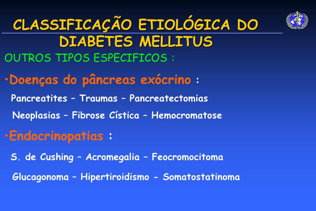 CLASSIFICAÇÃO ETIOLÓGICA DO DIABETES MELLITUS OUTROS TIPOS ESPECIFICOS : Doenças do pâncreas exócrino : Pancreatites – Traumas – Pancreatectomias Neoplasias – Fibrose Cística – Hemocromatose Endocrinopatias : S.