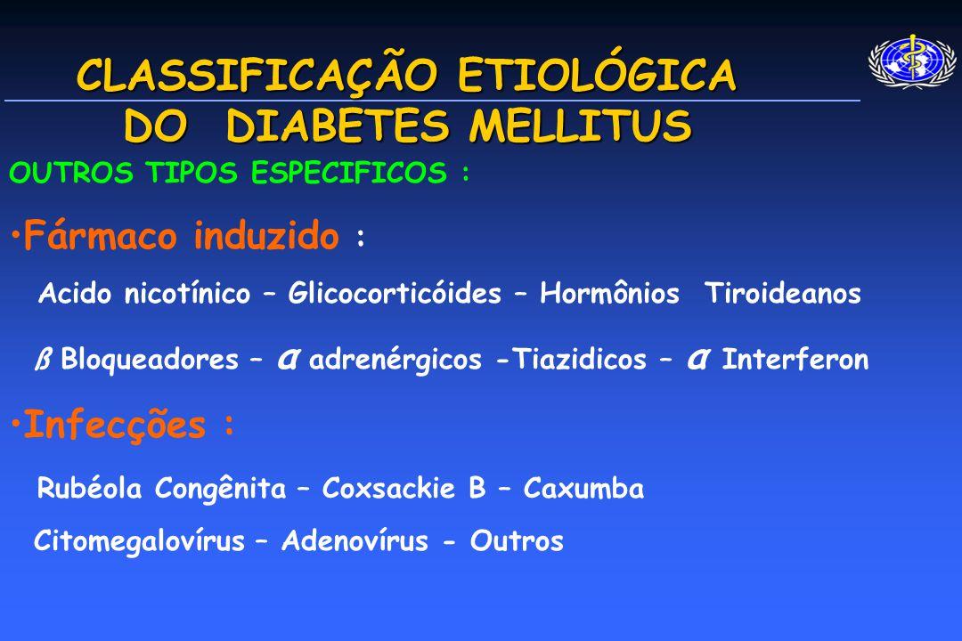 CLASSIFICAÇÃO ETIOLÓGICA DO DIABETES MELLITUS OUTROS TIPOS ESPECIFICOS : Fármaco induzido : Acido nicotínico – Glicocorticóides – Hormônios Tiroideanos ß Bloqueadores – α adrenérgicos -Tiazidicos – α Interferon Infecções : Rubéola Congênita – Coxsackie B – Caxumba Citomegalovírus – Adenovírus - Outros