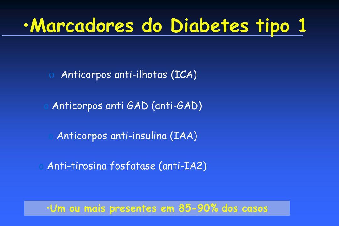 Marcadores do Diabetes tipo 1 o Anticorpos anti-ilhotas (ICA) o Anticorpos anti GAD (anti-GAD) o Anticorpos anti-insulina (IAA) o Anti-tirosina fosfatase (anti-IA2) Um ou mais presentes em 85-90% dos casos