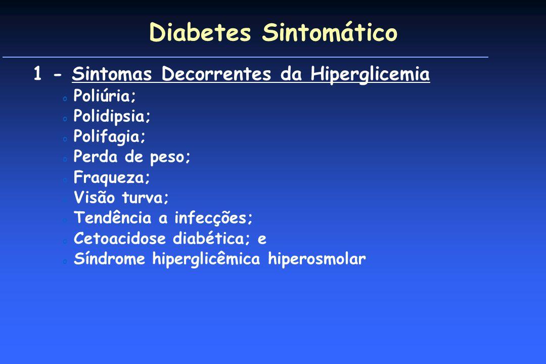 Diabetes Sintomático 1 - Sintomas Decorrentes da Hiperglicemia o Poliúria; o Polidipsia; o Polifagia; o Perda de peso; o Fraqueza; o Visão turva; o Tendência a infecções; o Cetoacidose diabética; e o Síndrome hiperglicêmica hiperosmolar