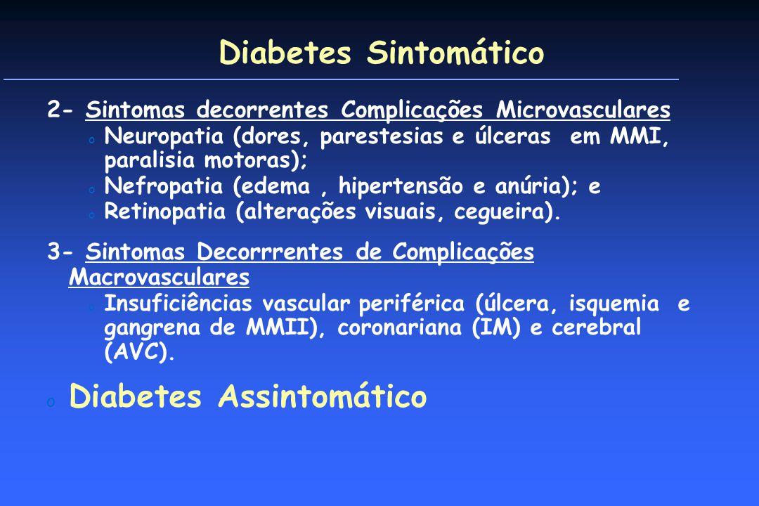 Diabetes Sintomático 2- Sintomas decorrentes Complicações Microvasculares o Neuropatia (dores, parestesias e úlceras em MMI, paralisia motoras); o Nefropatia (edema, hipertensão e anúria); e o Retinopatia (alterações visuais, cegueira).