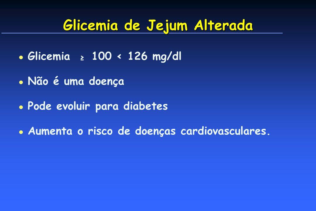 Glicemia de Jejum Alterada l Glicemia 100 < 126 mg/dl l Não é uma doença l Pode evoluir para diabetes l Aumenta o risco de doenças cardiovasculares.