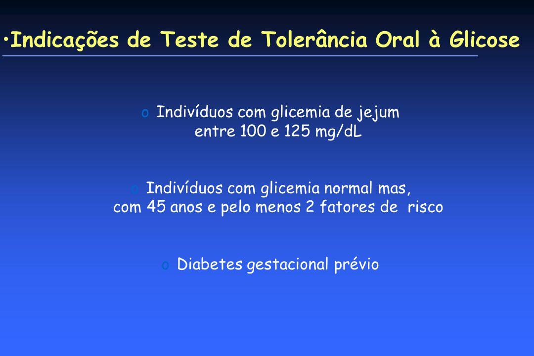 Indicações de Teste de Tolerância Oral à Glicose oIndivíduos com glicemia de jejum entre 100 e 125 mg/dL oIndivíduos com glicemia normal mas, com 45 anos e pelo menos 2 fatores de risco oDiabetes gestacional prévio