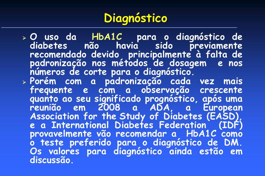 Diagnóstico O uso da HbA1C para o diagnóstico de diabetes não havia sido previamente recomendado devido principalmente à falta de padronização nos métodos de dosagem e nos números de corte para o diagnóstico.