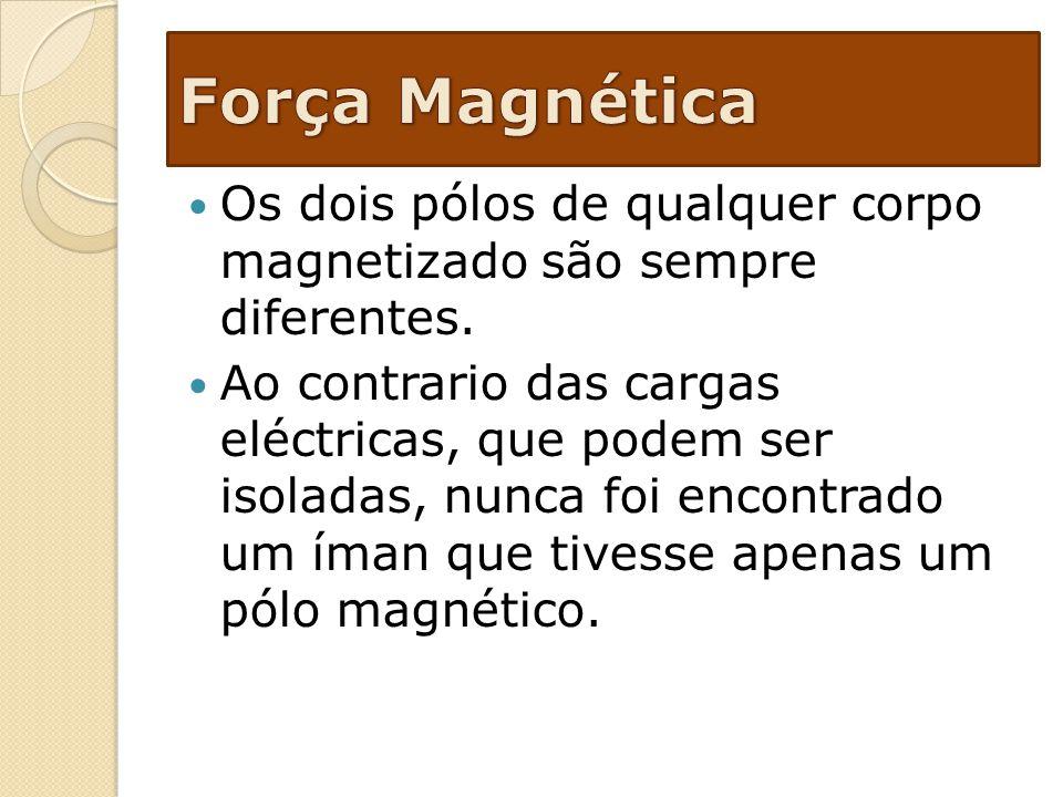 Os dois pólos de qualquer corpo magnetizado são sempre diferentes. Ao contrario das cargas eléctricas, que podem ser isoladas, nunca foi encontrado um