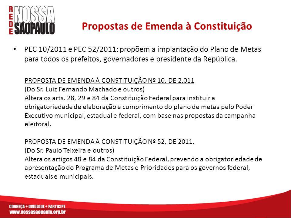 PEC 10/2011 e PEC 52/2011: propõem a implantação do Plano de Metas para todos os prefeitos, governadores e presidente da República. Propostas de Emend