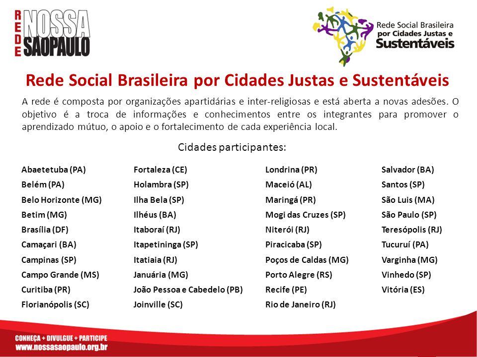Rede Social Brasileira por Cidades Justas e Sustentáveis A rede é composta por organizações apartidárias e inter-religiosas e está aberta a novas adesões.