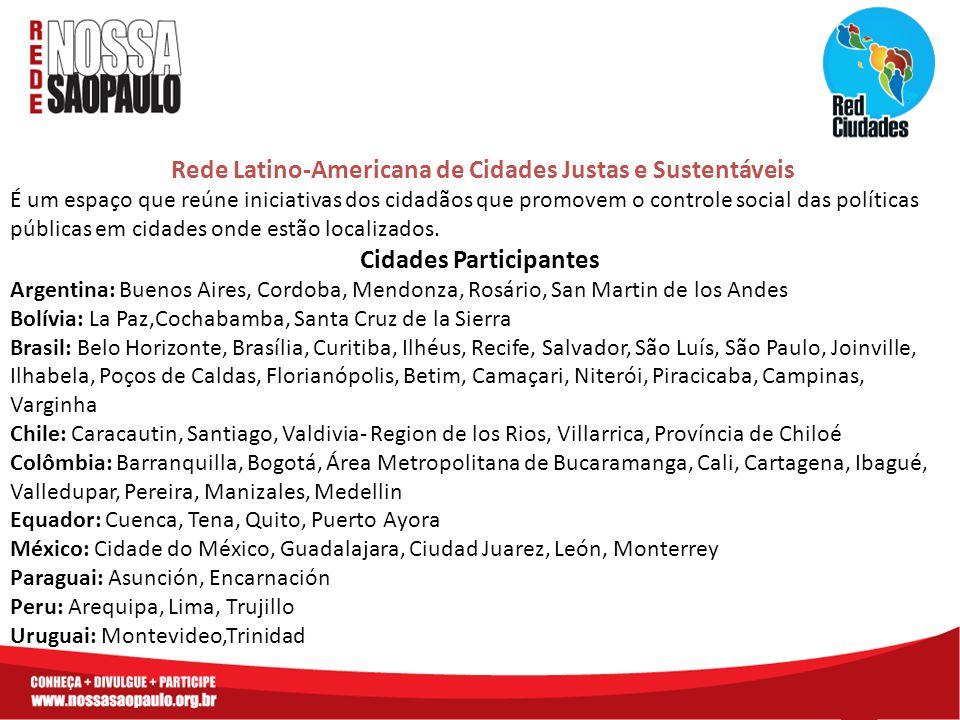 Rede Latino-Americana de Cidades Justas e Sustentáveis É um espaço que reúne iniciativas dos cidadãos que promovem o controle social das políticas púb