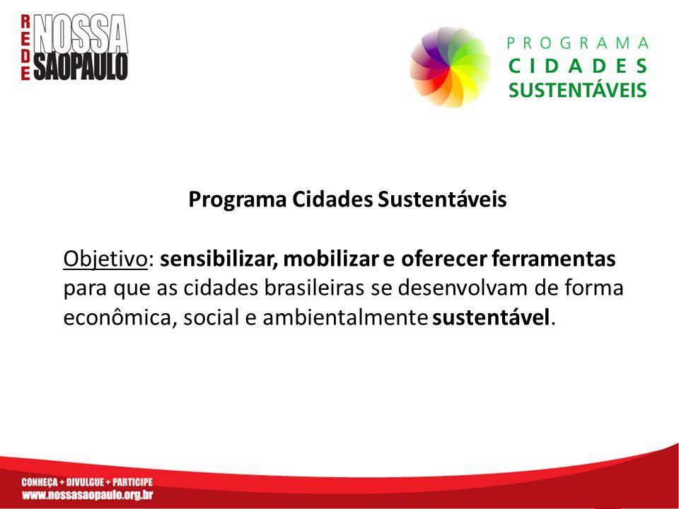 Programa Cidades Sustentáveis Objetivo: sensibilizar, mobilizar e oferecer ferramentas para que as cidades brasileiras se desenvolvam de forma econômica, social e ambientalmente sustentável.