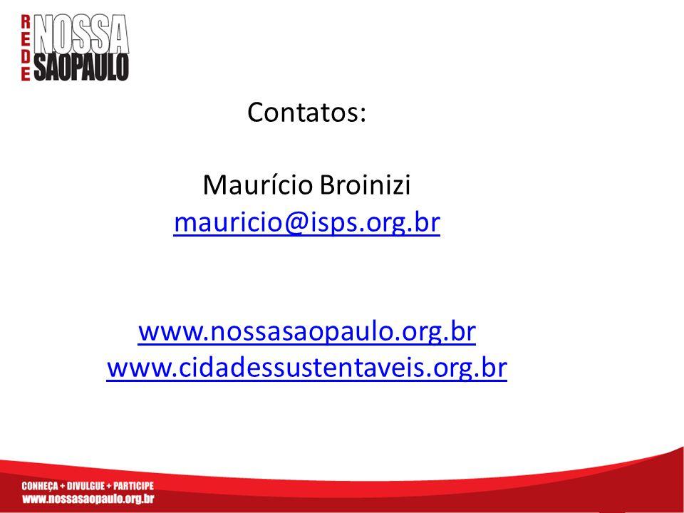 Contatos: Maurício Broinizi mauricio@isps.org.br www.nossasaopaulo.org.br www.cidadessustentaveis.org.br