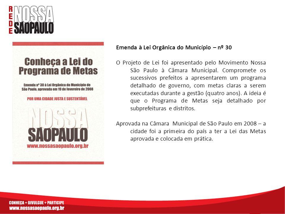 Emenda à Lei Orgânica do Município – nº 30 O Projeto de Lei foi apresentado pelo Movimento Nossa São Paulo à Câmara Municipal. Compromete os sucessivo