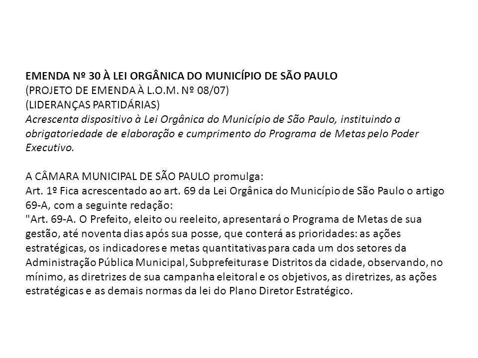 EMENDA Nº 30 À LEI ORGÂNICA DO MUNICÍPIO DE SÃO PAULO (PROJETO DE EMENDA À L.O.M. Nº 08/07) (LIDERANÇAS PARTIDÁRIAS) Acrescenta dispositivo à Lei Orgâ