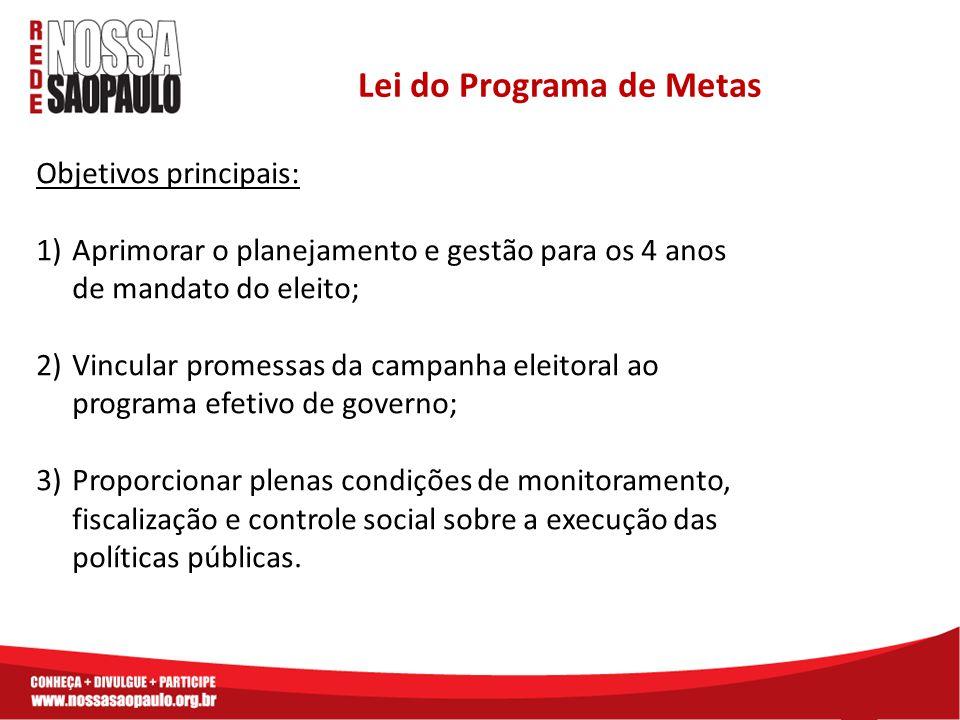Objetivos principais: 1)Aprimorar o planejamento e gestão para os 4 anos de mandato do eleito; 2)Vincular promessas da campanha eleitoral ao programa