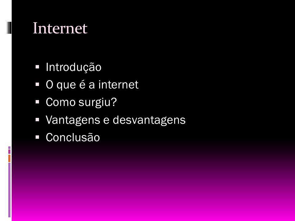 Internet Introdução O que é a internet Como surgiu? Vantagens e desvantagens Conclusão