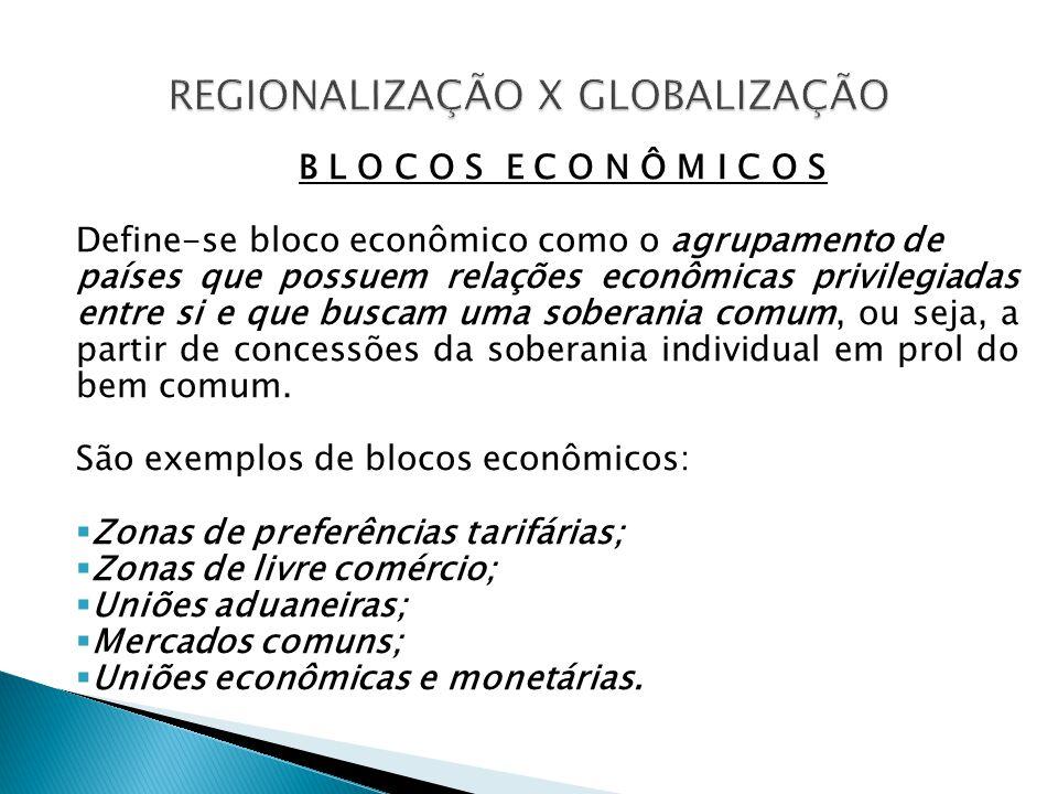 B L O C O S E C O N Ô M I C O S Define-se bloco econômico como o agrupamento de países que possuem relações econômicas privilegiadas entre si e que bu
