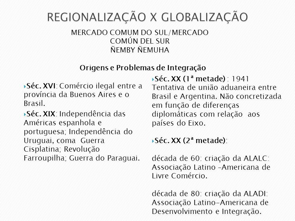 Séc. XVI: Comércio ilegal entre a província da Buenos Aires e o Brasil. Séc. XIX: Independência das Américas espanhola e portuguesa; Independência do