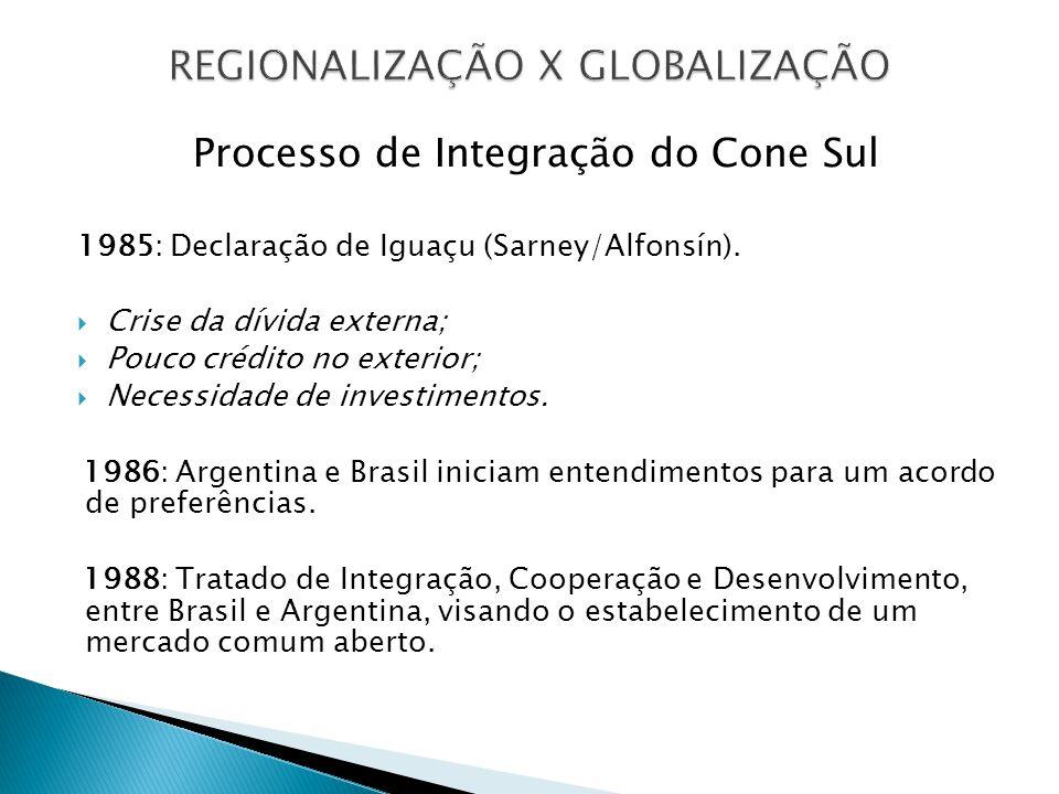 Processo de Integração do Cone Sul 1985: Declaração de Iguaçu (Sarney/Alfonsín). Crise da dívida externa; Pouco crédito no exterior; Necessidade de in