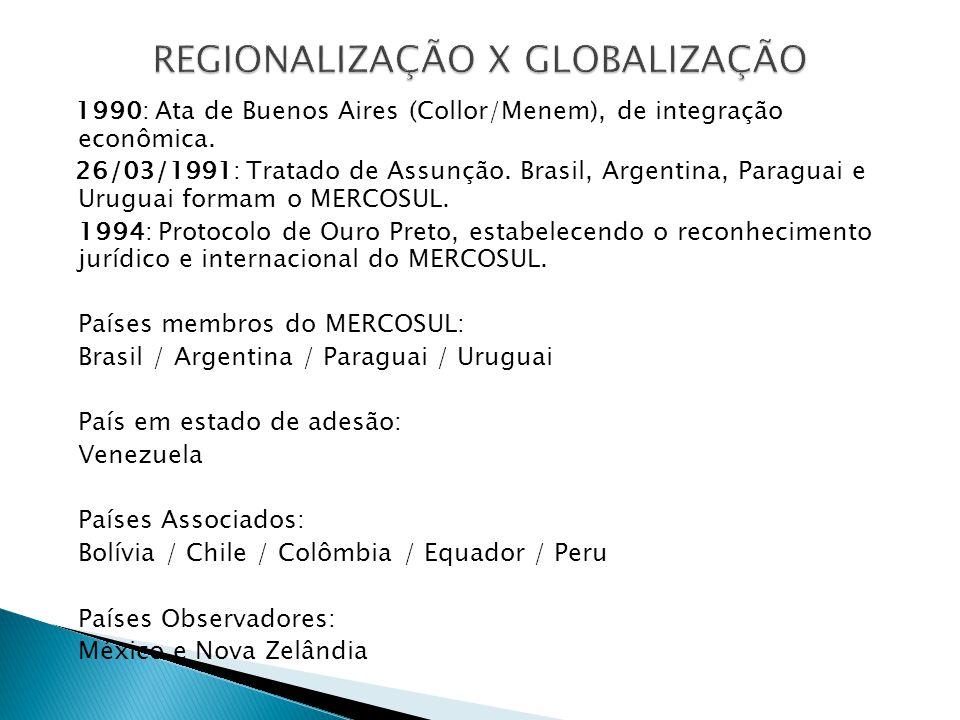1990: Ata de Buenos Aires (Collor/Menem), de integração econômica. 26/03/1991: Tratado de Assunção. Brasil, Argentina, Paraguai e Uruguai formam o MER