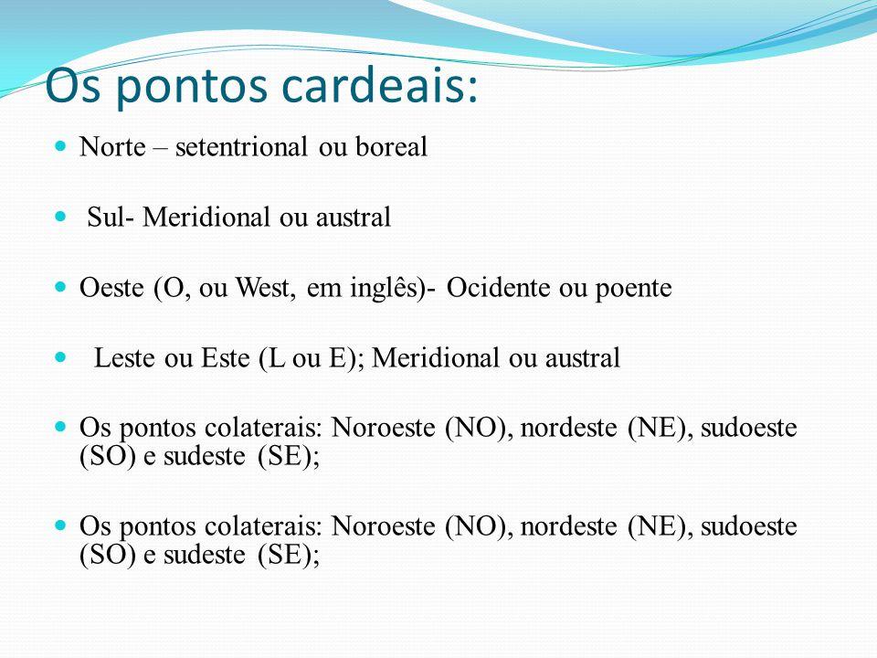 Os pontos cardeais: Norte – setentrional ou boreal Sul- Meridional ou austral Oeste (O, ou West, em inglês)- Ocidente ou poente Leste ou Este (L ou E)