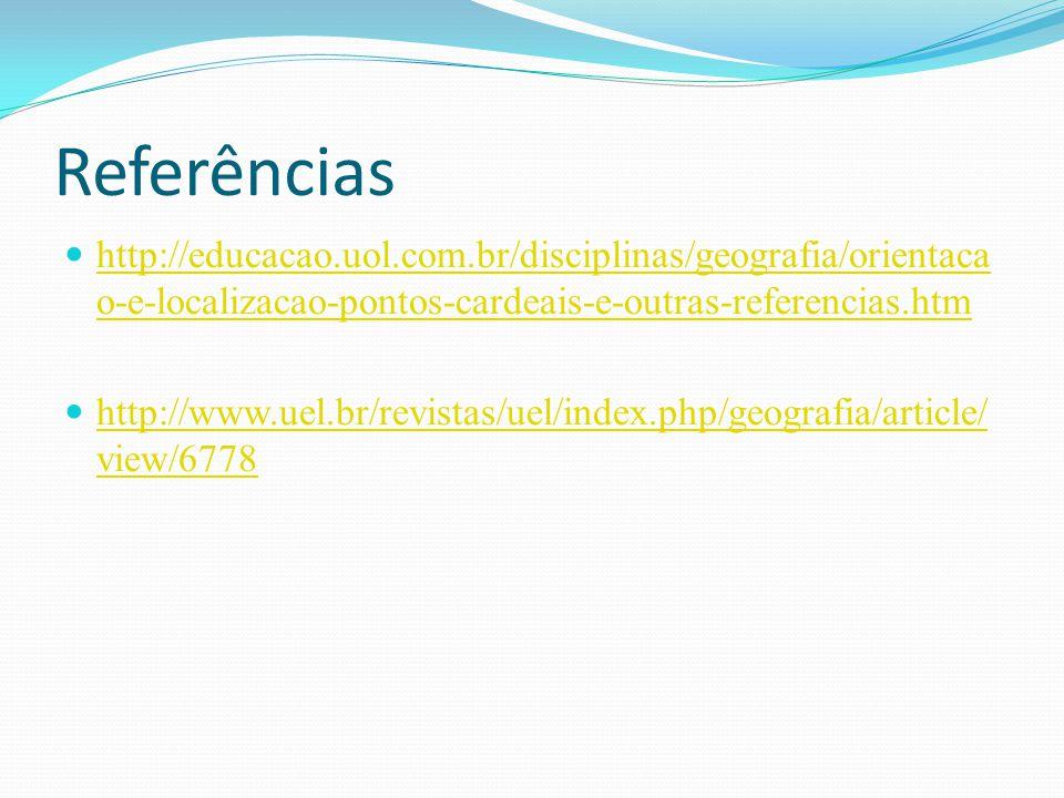 Referências http://educacao.uol.com.br/disciplinas/geografia/orientaca o-e-localizacao-pontos-cardeais-e-outras-referencias.htm http://educacao.uol.co