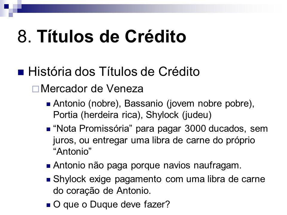 8. Títulos de Crédito História dos Títulos de Crédito Mercador de Veneza Antonio (nobre), Bassanio (jovem nobre pobre), Portia (herdeira rica), Shyloc