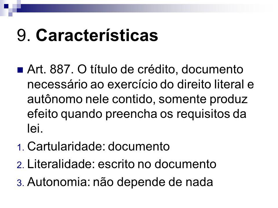 9.Características Art. 887.