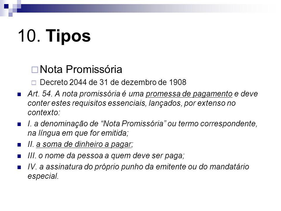 10.Tipos Nota Promissória Decreto 2044 de 31 de dezembro de 1908 Art.