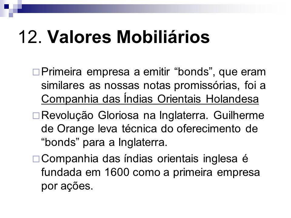 12. Valores Mobiliários Primeira empresa a emitir bonds, que eram similares as nossas notas promissórias, foi a Companhia das Índias Orientais Holande